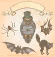 Hand drawn vintage halloween spooky owl set vector