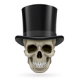 Human skull with hat on vector