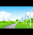 Green landscape with power plants vector