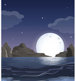 A view of the ocean in the middle of the night vector