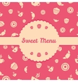 Pink menu cover design with sweets icons seamless vector