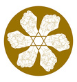 Six fists abstract symbol with hexagonal star vector