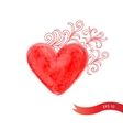 Watercolor red heart with flowers vector