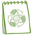 A green notebook with a drawing of the recycle vector