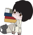 Boy with his books vector