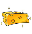 Slice of tasty cheese vector