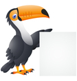 Toucan bird with blank sign vector