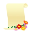 Bouquet of flowers and a scroll vector