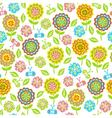 Seamless pattern of flowers butterflies leaves vector
