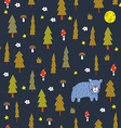 Seamless pattern with a bear in the night vector