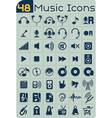 48 music icons set vector