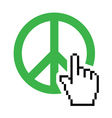 World peace green sign with cursor hand vector