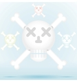 Skull and crossbones icon style in different color vector