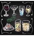Hand drawn cocktail menu elements vector