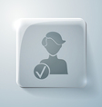 Glass square icon with highlights add friend vector