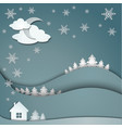 Winter background of snowflakes trees house vector