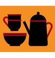 Teapot teacup and bowl vector