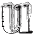 Technical typography letter u vector
