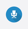 Office chair flat blue simple icon with long vector