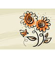 Floral background with sunflowers and butterfly vector