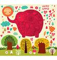 Floral elephant vector