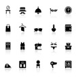 Dressing room icons with reflect on white vector