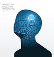 Infographic man with light bulb flat line idea vector