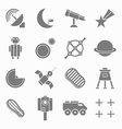 Icons space in flat style gray on white set 2 vector