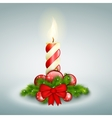 Christmas candle with fir branches vector