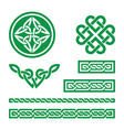 Celtic green knots braids and patterns - vector