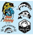 Set of patterns with emblems for fishing with pike vector