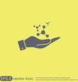 Hand holding the atom molecule vector