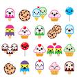 Cute kawaii food characters - cupcake ice-cream vector