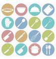 White icons kitchen vector
