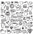 Coffee and tea cups - doodles set vector