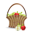 Basket of red and green apples vector