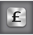 Pound icon - metal app button vector