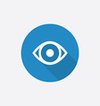 Eye flat blue simple icon with long shadow vector