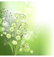Green background with spring flowers vector