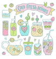 Set of cute hand drawn cocktails and lemonades vector