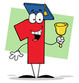 Number one ringing a bell and graduate cap vector
