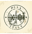 Grunge rubber stamp with pisa italy vector