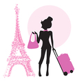 Young woman with suitcase in paris vector