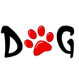 Dog text with red paw print vector