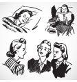 Retro women at home vector