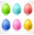 Set of 6 patterned easter eggs vector