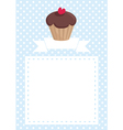Invitation card with cupcake and polka dots vector