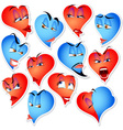 Set of hearts with emotions vector
