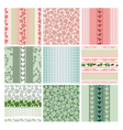 Seamless patterns of the roses and leaves set vector