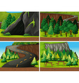 Forest and cave vector